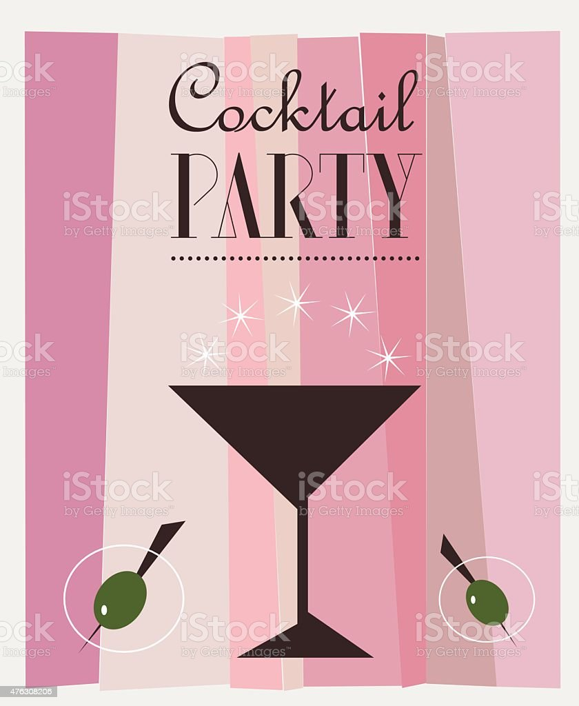 Cocktail Party Retro Vector Poster vector art illustration