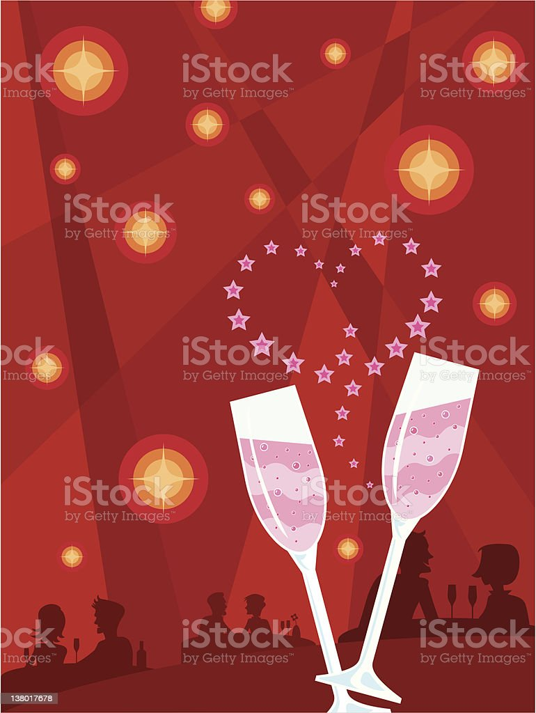 Cocktail Romance vector art illustration