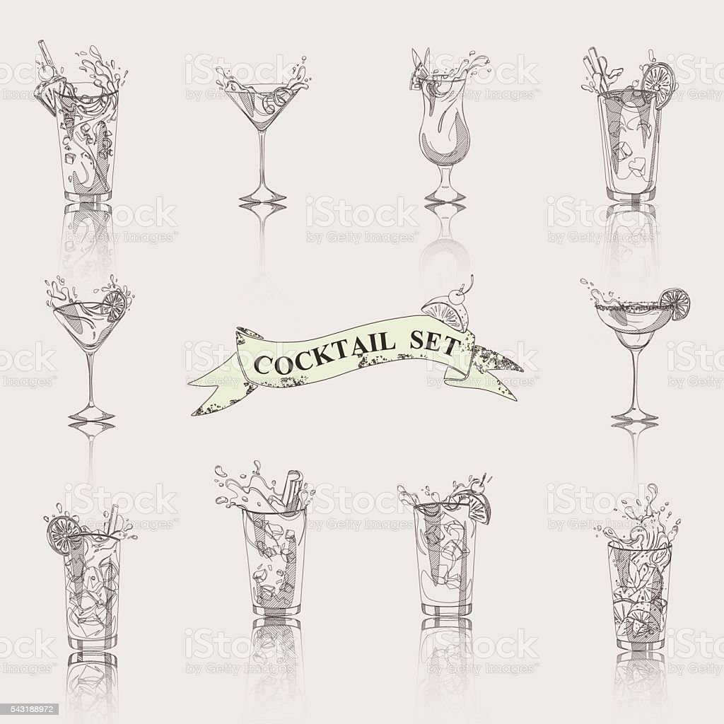 cocktail set white and black vector art illustration