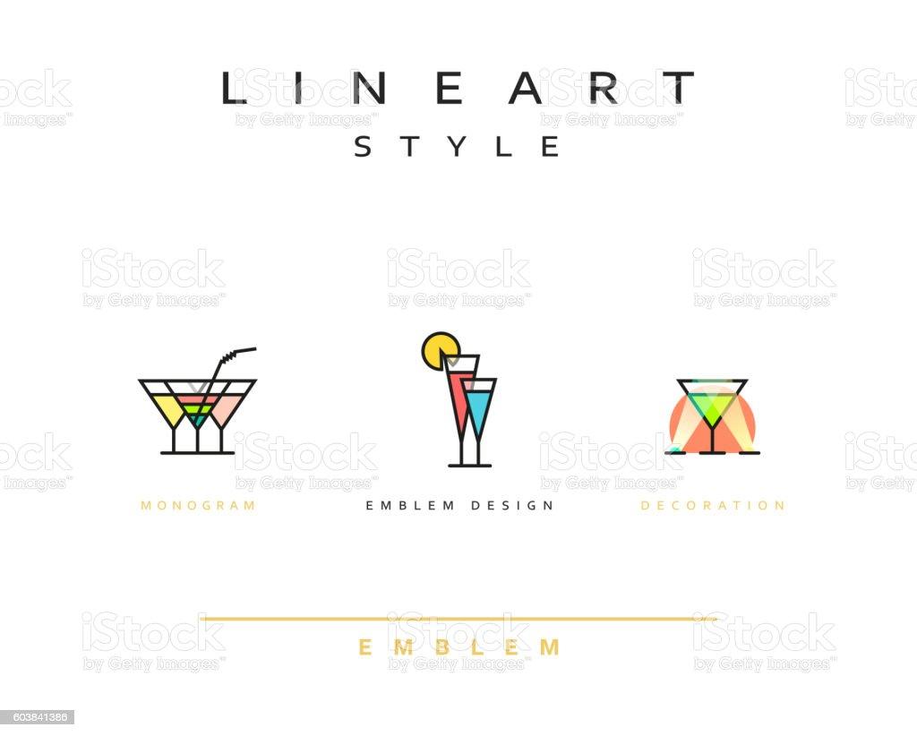 Cocktail wineglass vector icon style line art vector art illustration