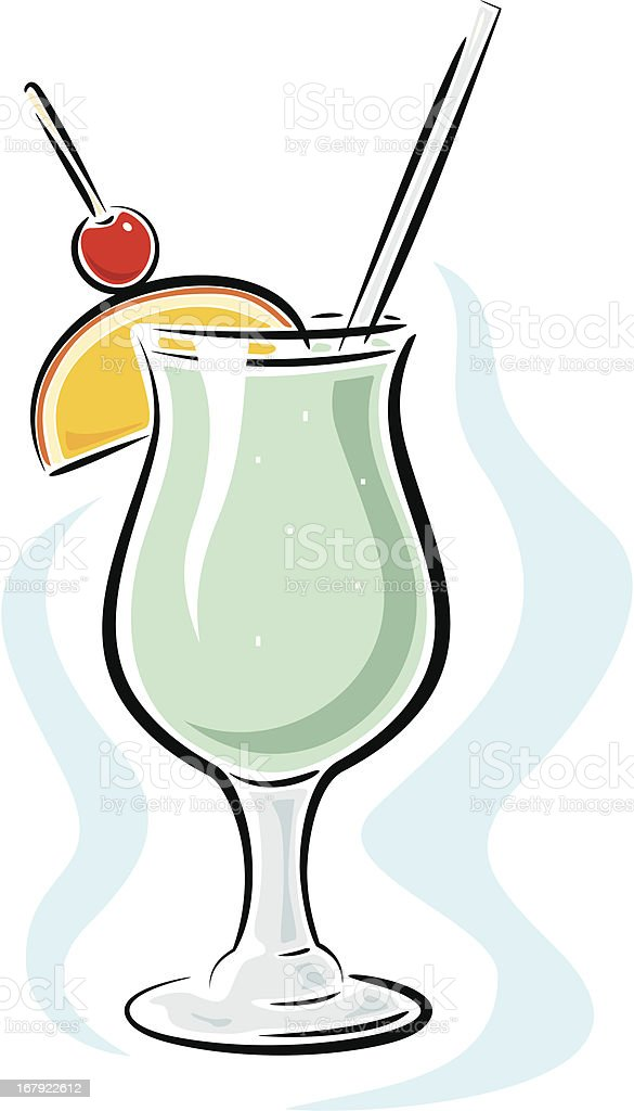 Cocktail with Cherry and Orange (Vector) vector art illustration
