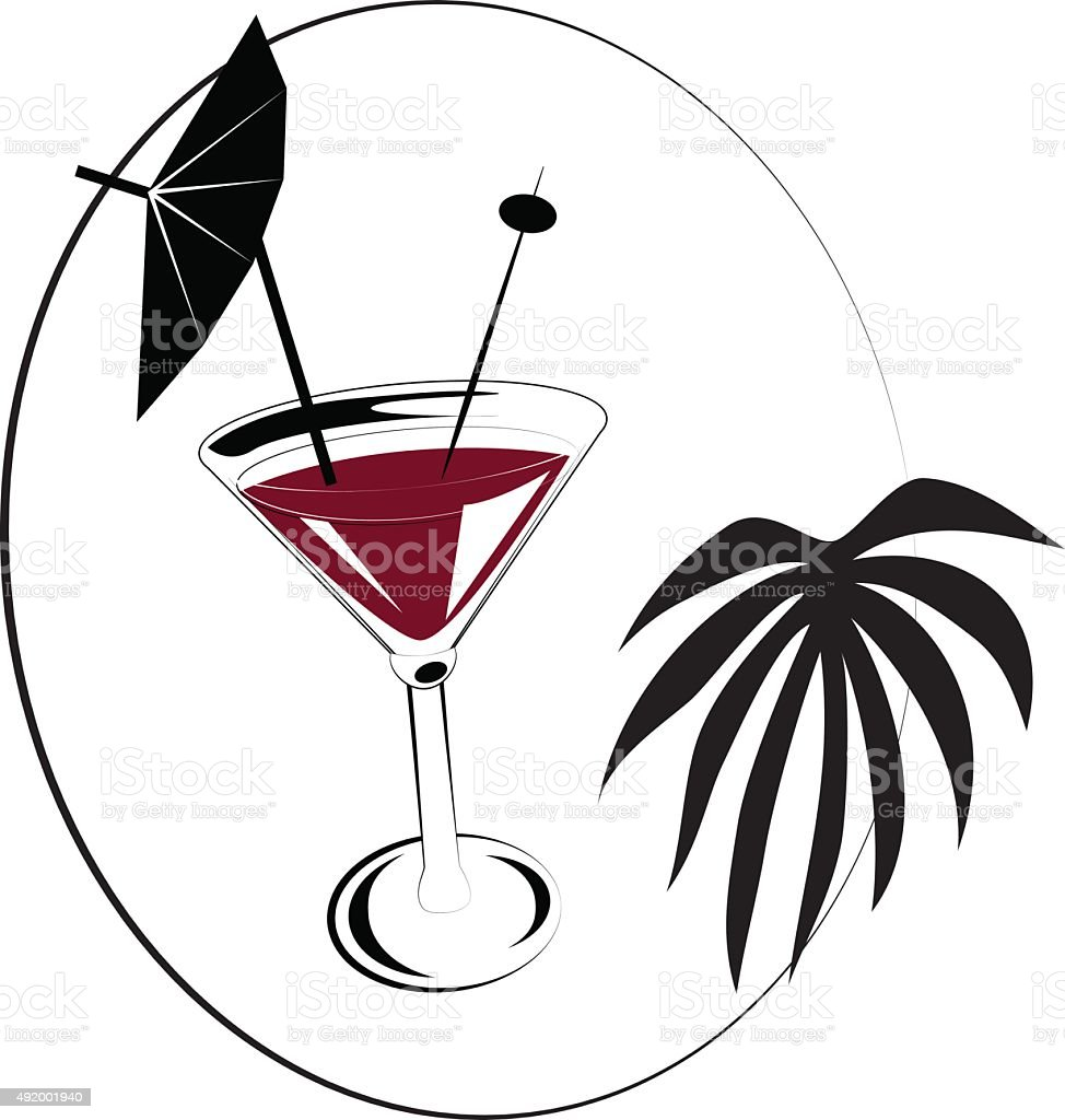 Cocktail with paper umbrella and olive on stick vector art illustration