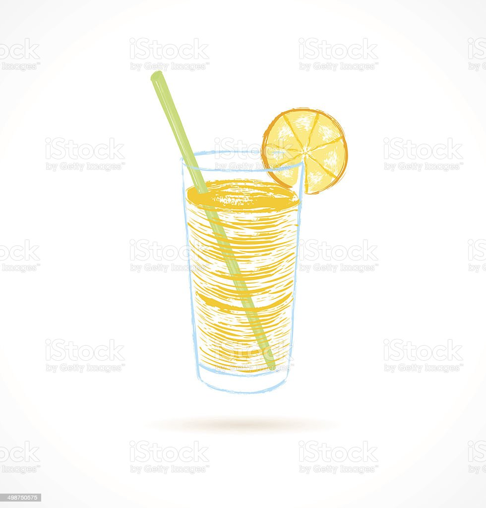 Cocktail with tubule and orange slice. vector art illustration