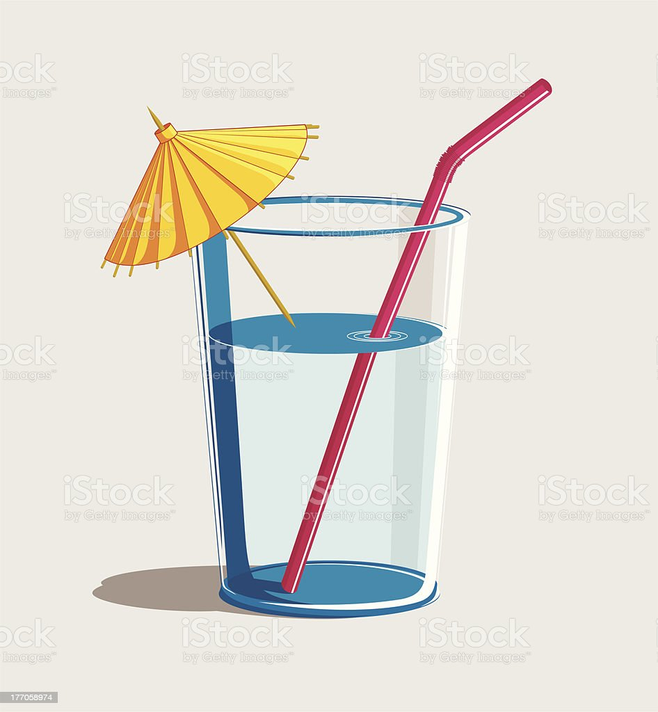 cocktail with umbrella and straw royalty-free stock vector art