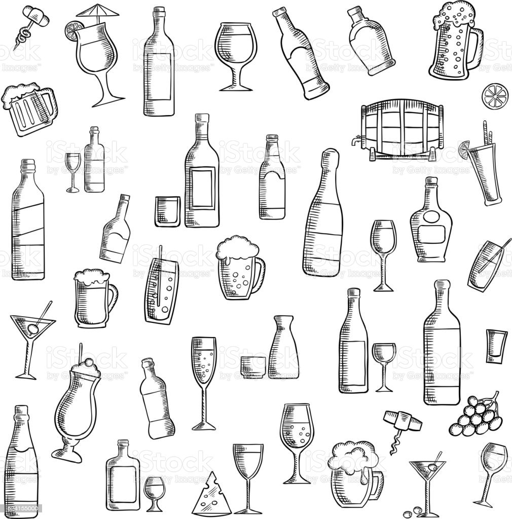 Cocktails and alcohol beverages with snacks icon vector art illustration