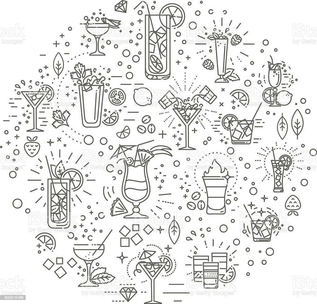 Cocktails concept illustration, thin line flat design vector art illustration