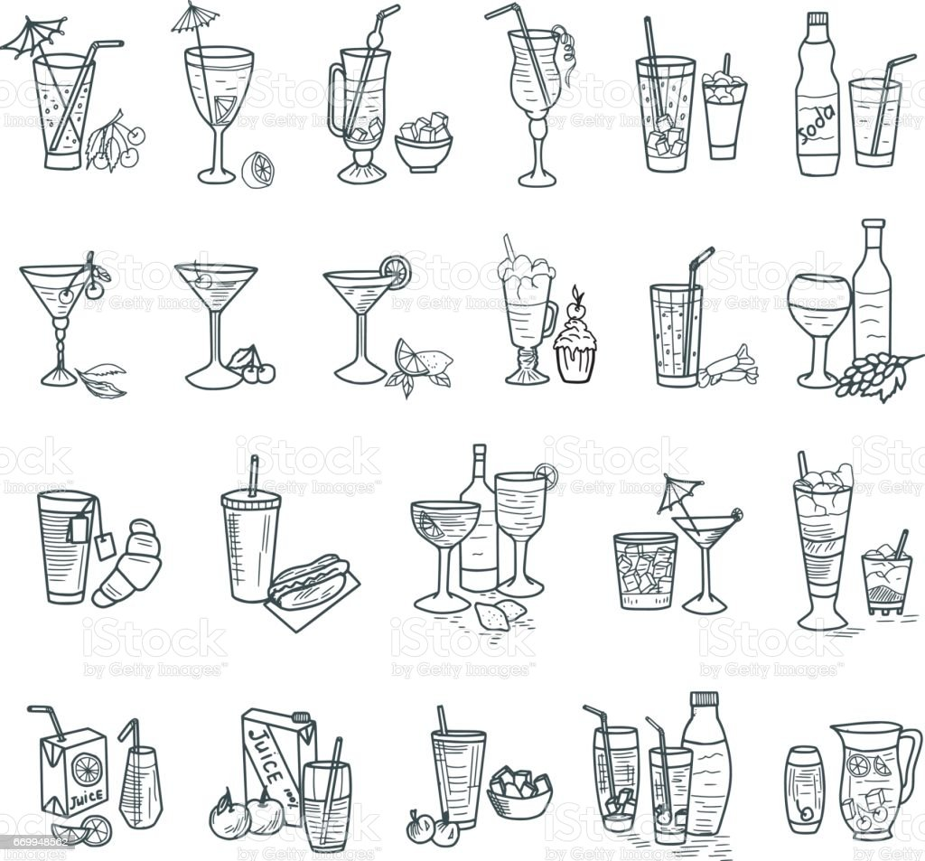 Cocktails Doodles vector art illustration