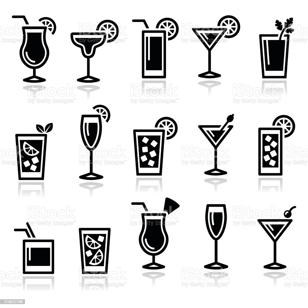 Cocktails, drinks glasses vector icons set vector art illustration
