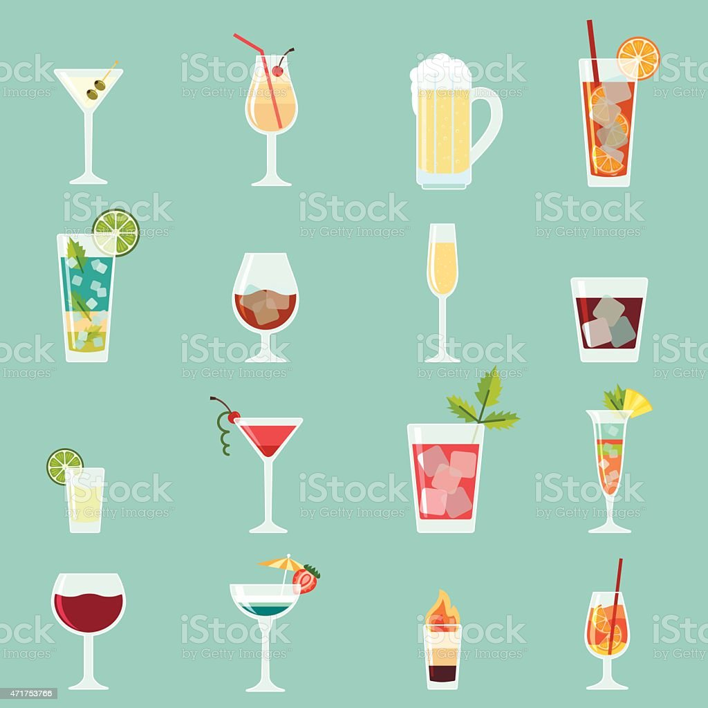 Cocktails icon set vector art illustration