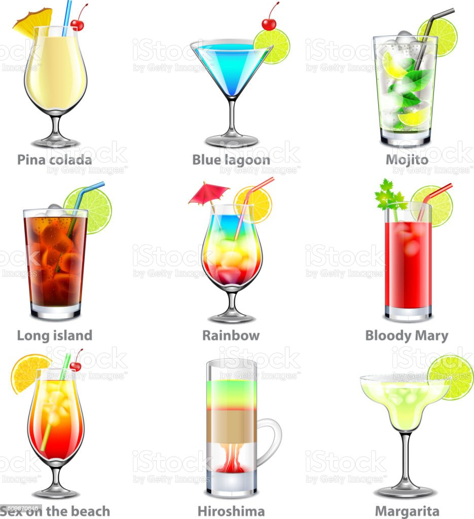 Cocktails icons vector set vector art illustration