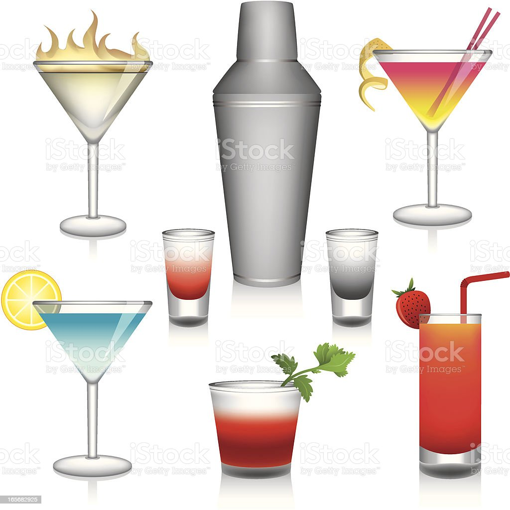 Cocktails II vector art illustration