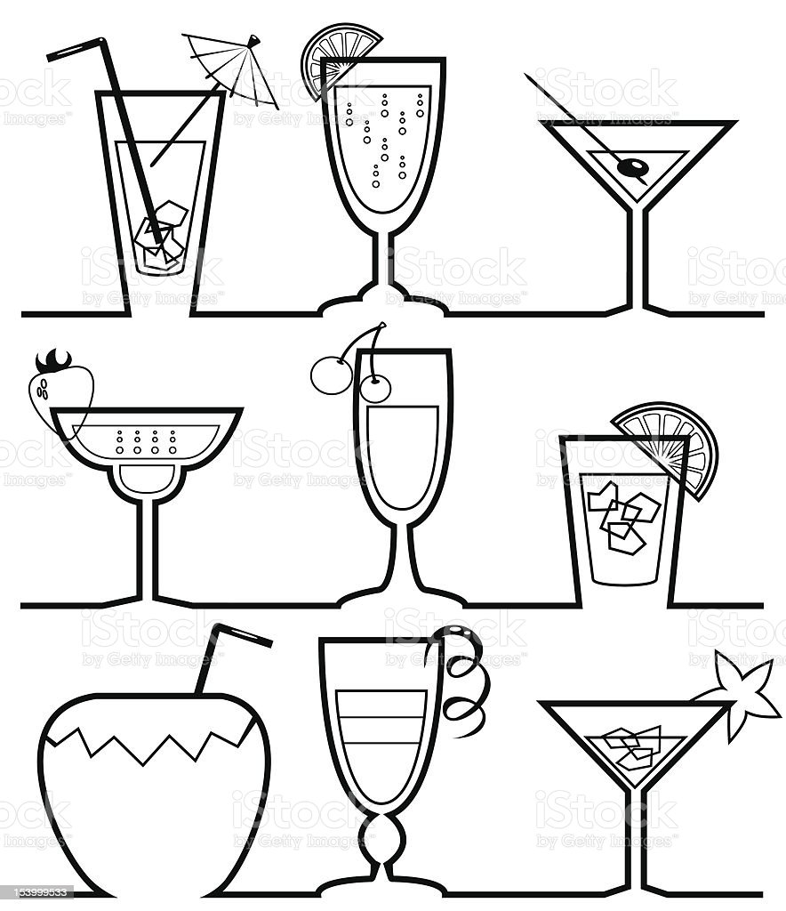Cocktails silhouettes collection vector art illustration