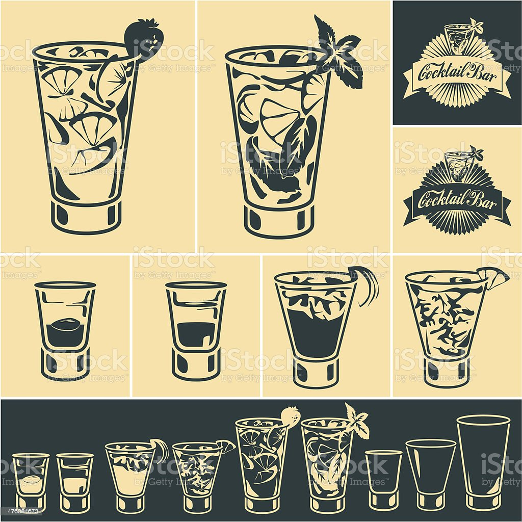 Cocktails vector art illustration