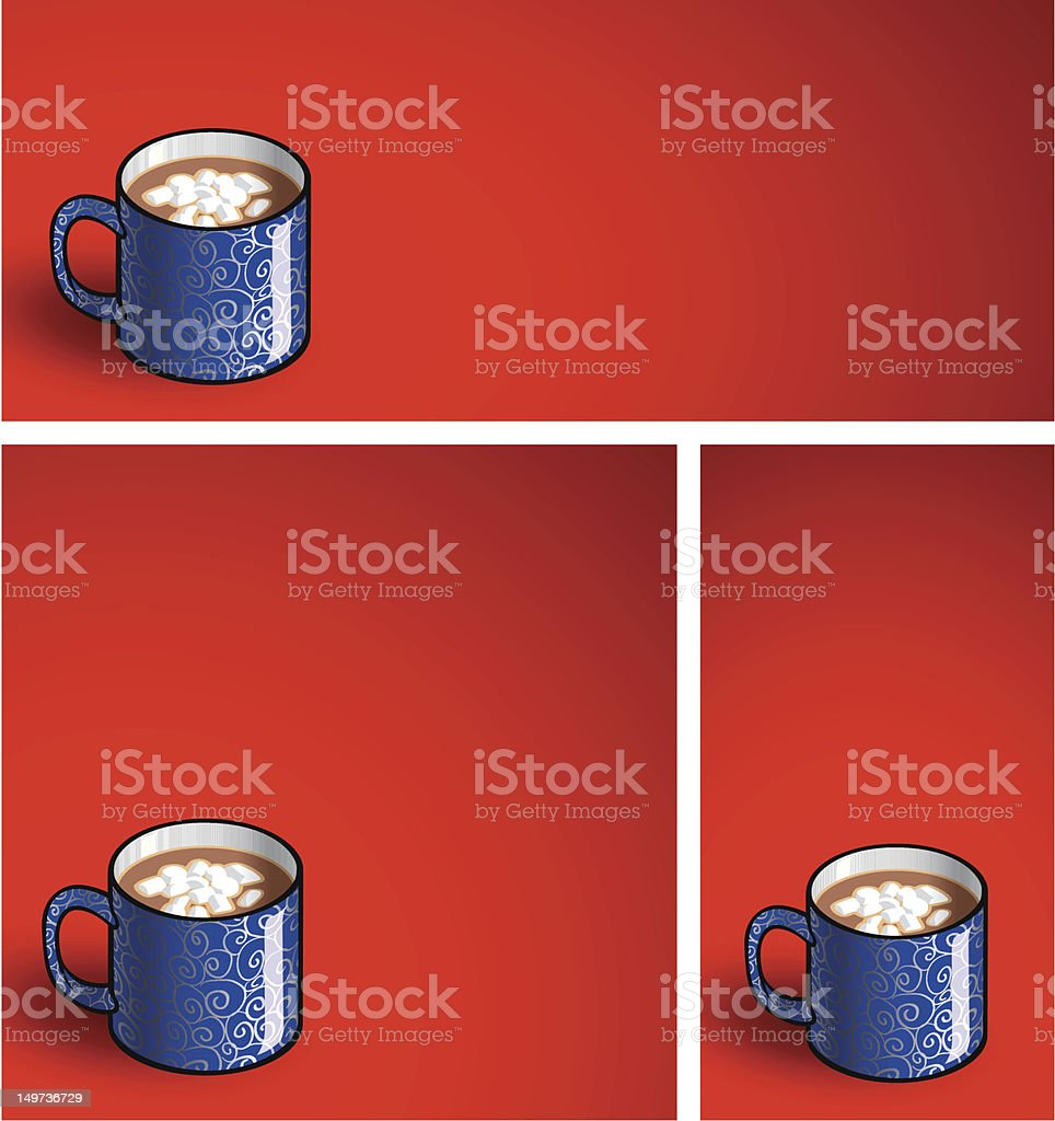Cocoa Mugs on Red vector art illustration