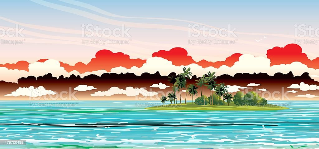 Coconat island in the sea. Vector seascape. vector art illustration
