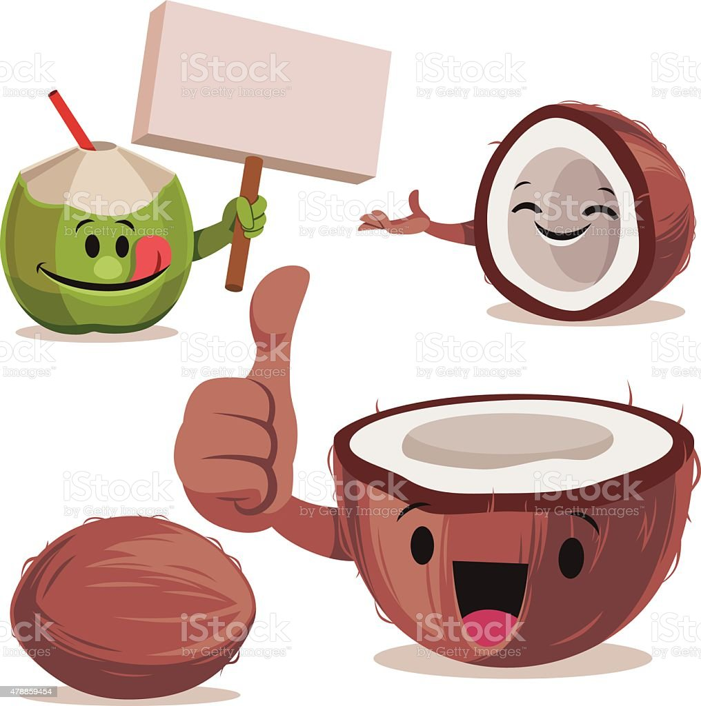 Coconut Cartoon Set C vector art illustration