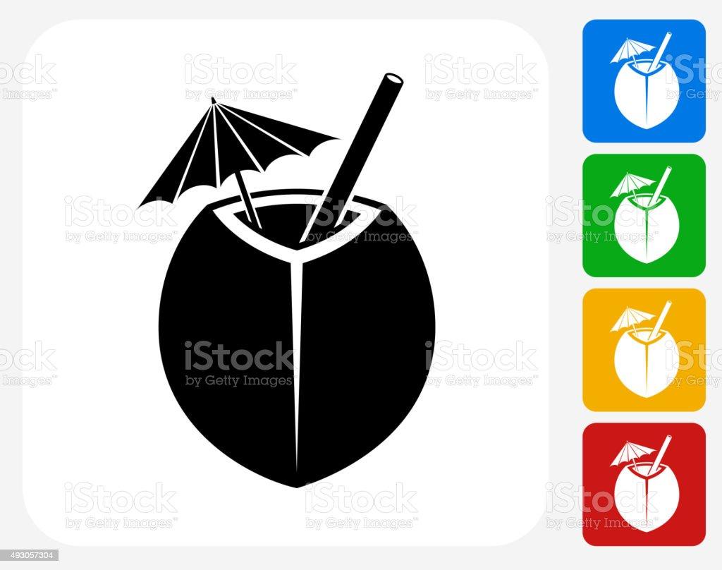 Coconut Cocktail Icon Flat Graphic Design vector art illustration