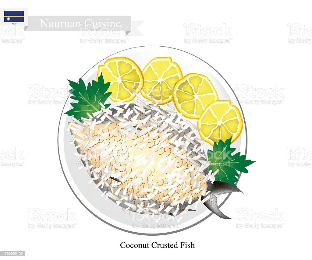 Coconut Crusted Fish, A National Dish of Nauru vector art illustration