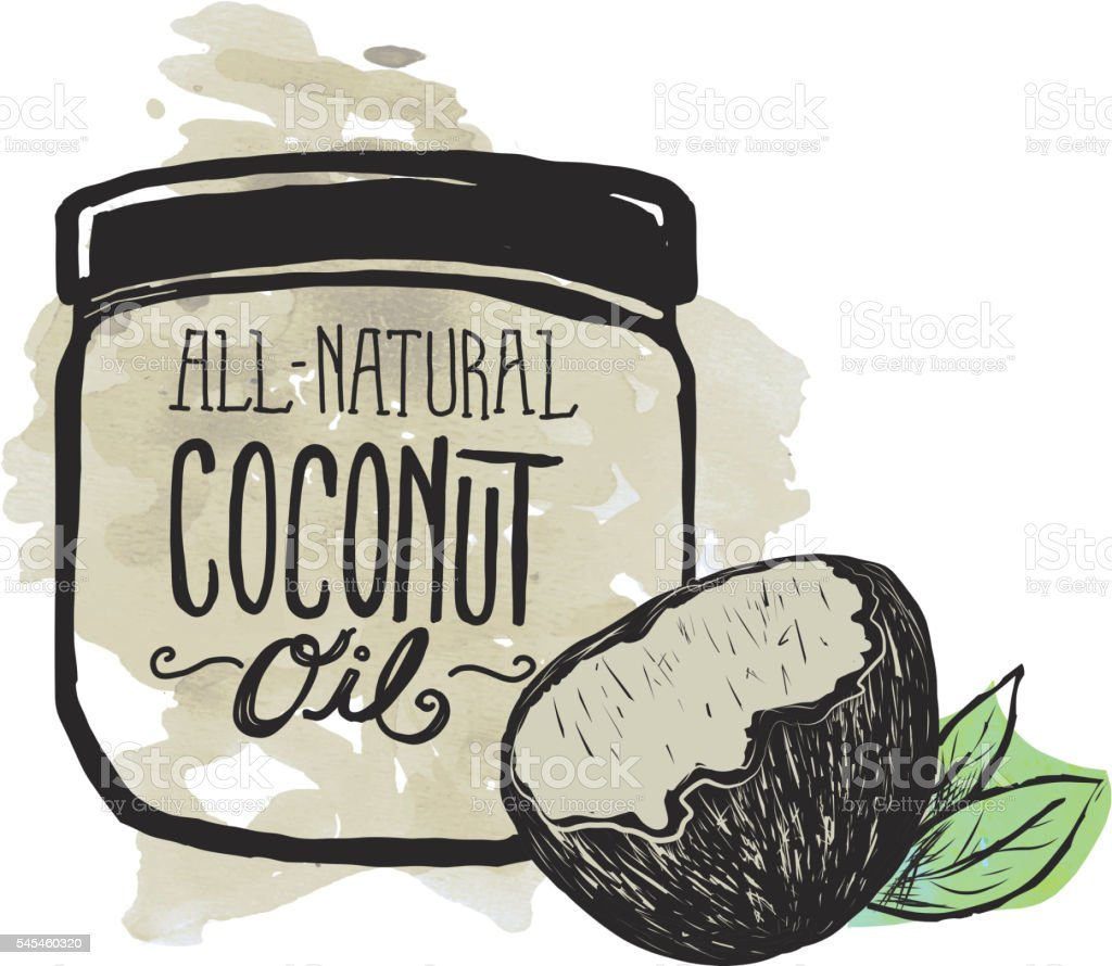 Coconut Oil label and jar on watercolor background vector art illustration