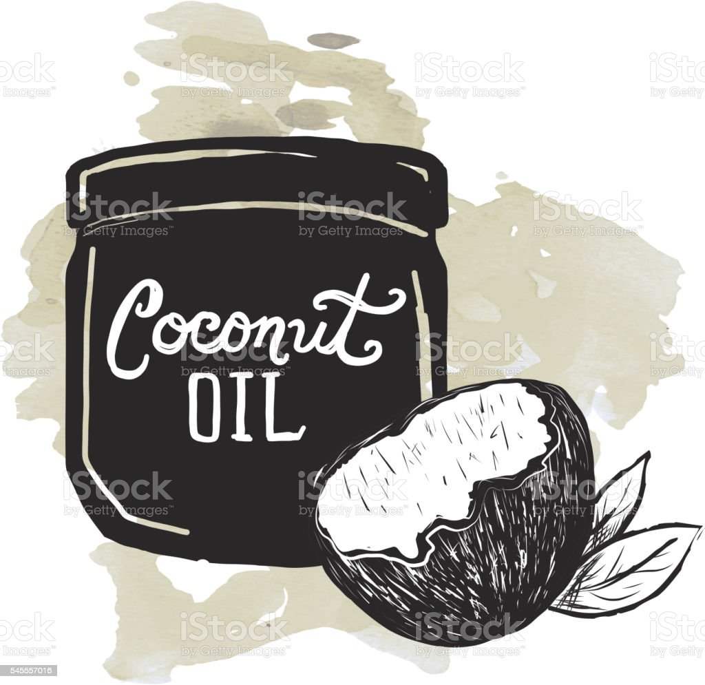 Coconut Oil label and jar on watercolor texture background vector art illustration