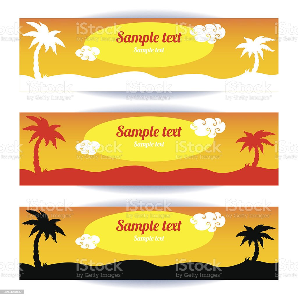 Coconut palm banners set royalty-free stock vector art