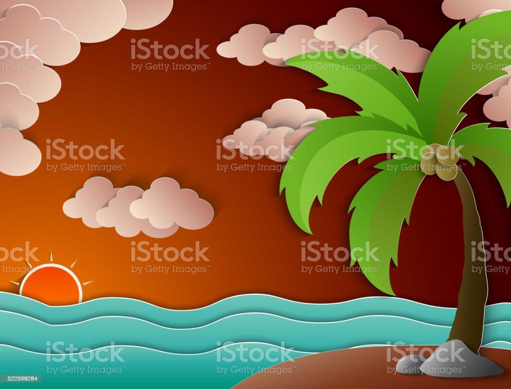 Coconut palm tree and beach sunset vector art illustration