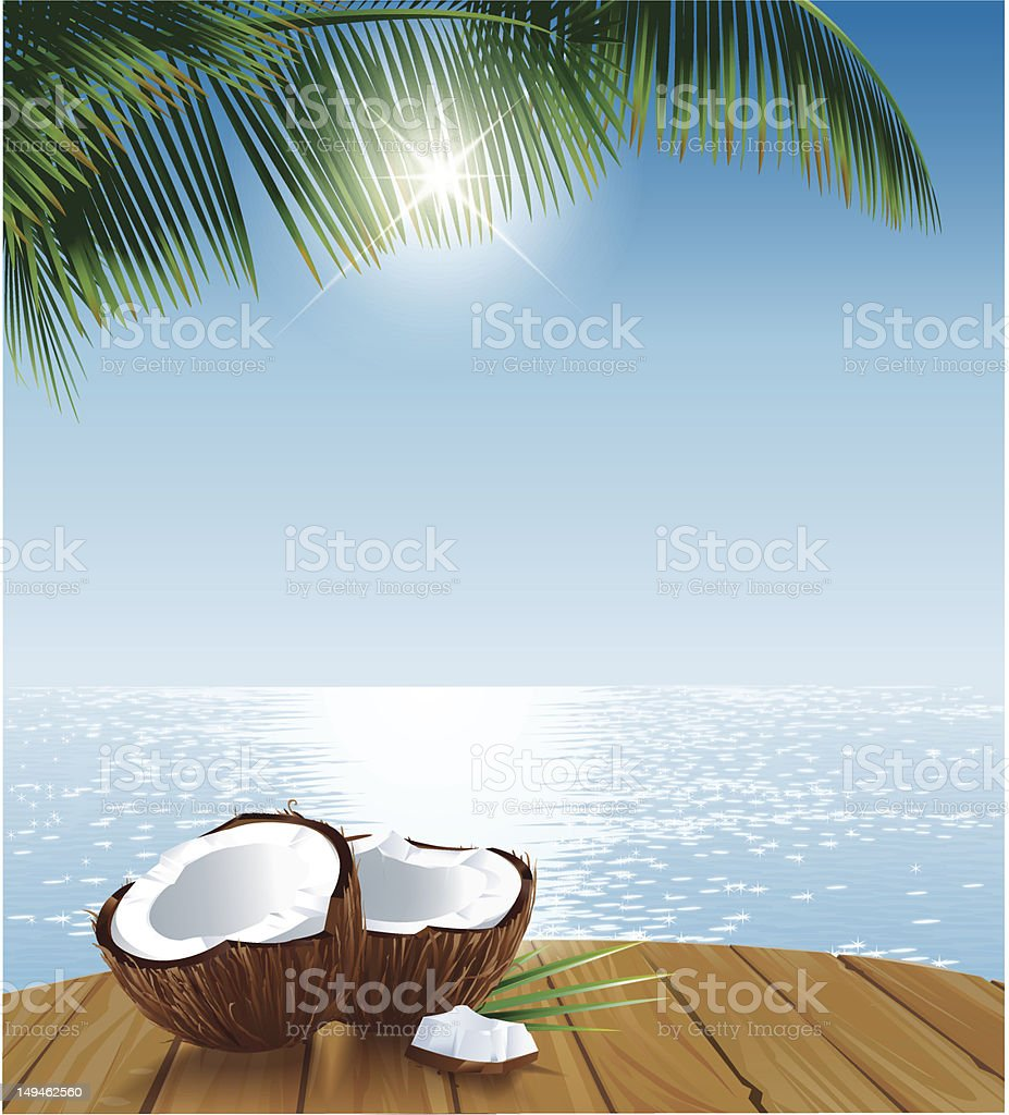 Coconuts on Table Ocean and Palmleaves vector art illustration