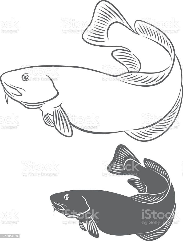 cod fish vector art illustration