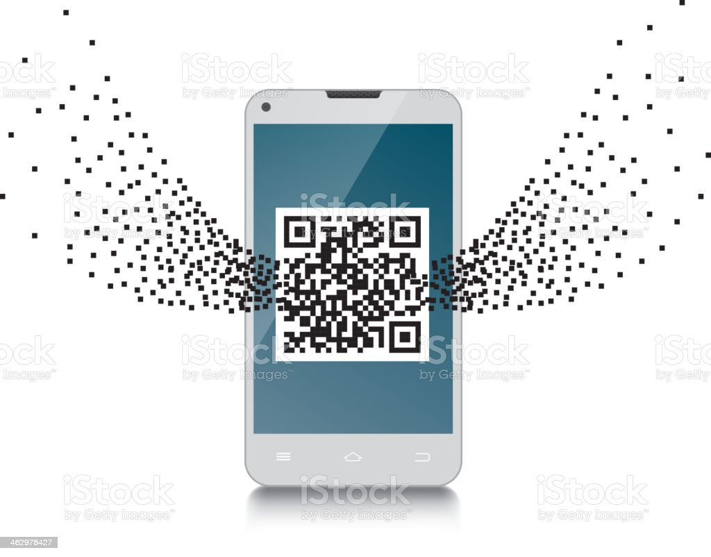 QR code in cellphone royalty-free stock vector art