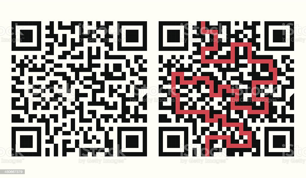 QR Code Maze with Solution in Red vector art illustration