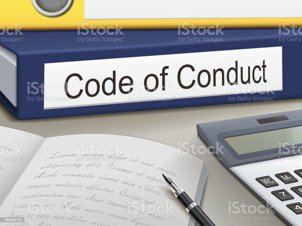 code of conduct binders vector art illustration