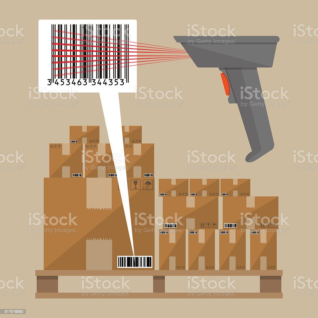 Code reader and cardboard boxes vector art illustration