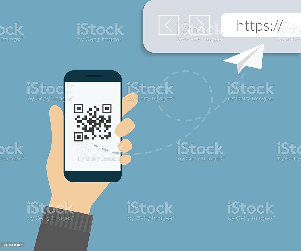 QR code scanning vector art illustration
