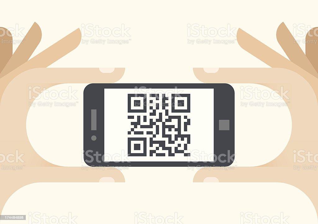QR code shown on smartphone screen vector art illustration