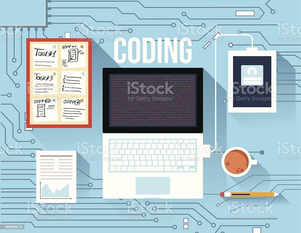 Coding concept vector art illustration