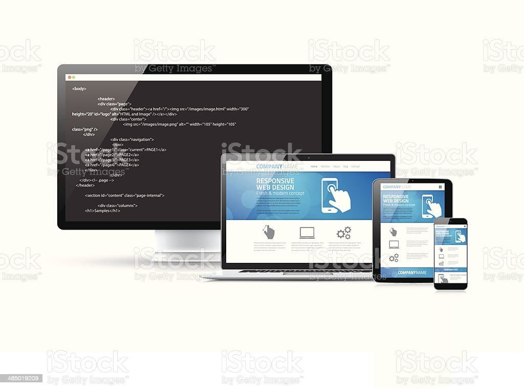 Coding websites to modern responsive electronic devices vector concept vector art illustration