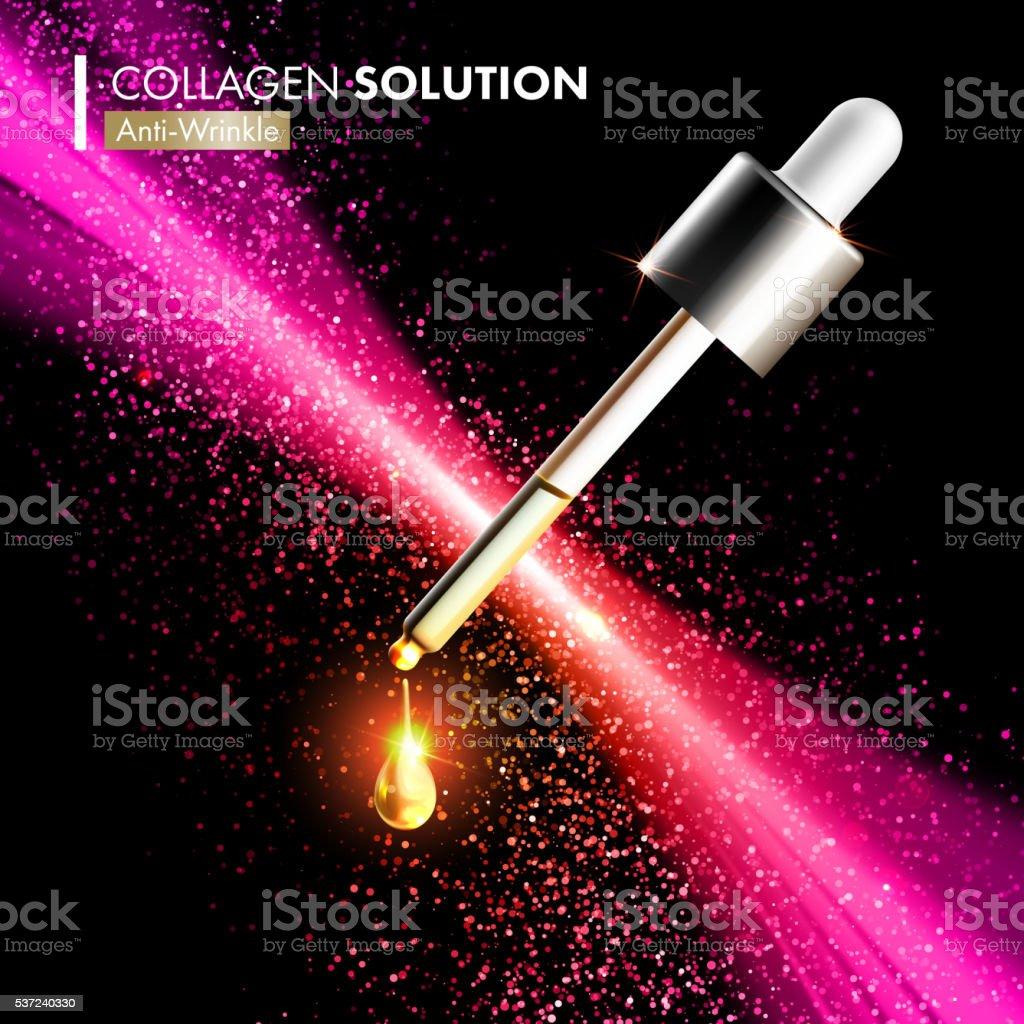 Coenzyme Q10 collagen serum essence drops vector art illustration
