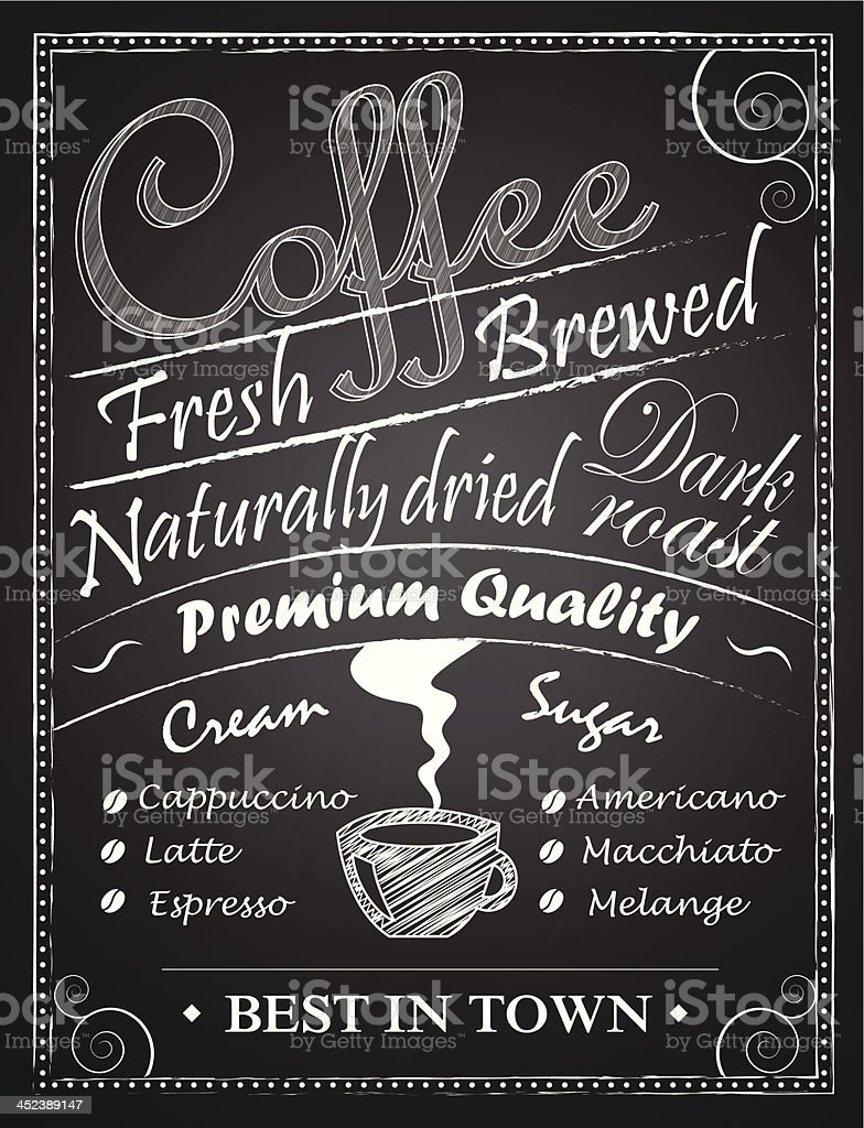 Coffe chalk drawing over blackboards royalty-free stock vector art
