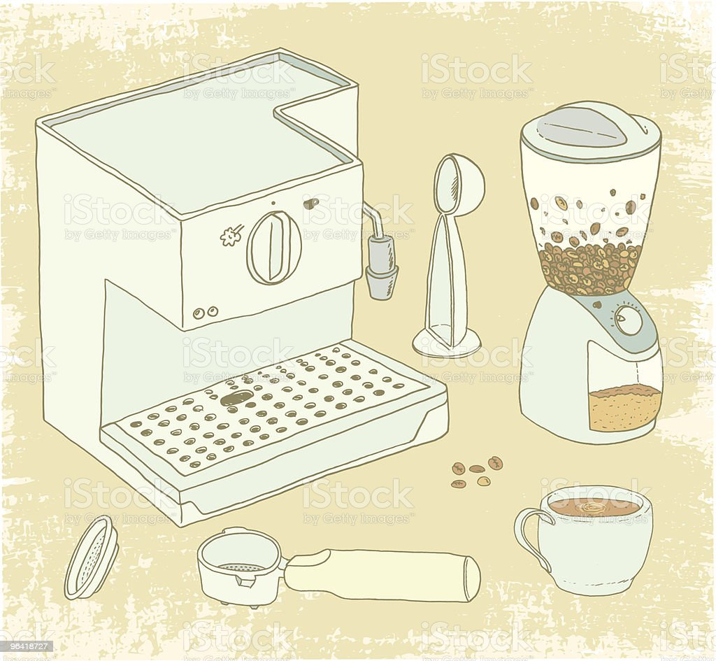 Coffee Addict Paraphernalia vector art illustration