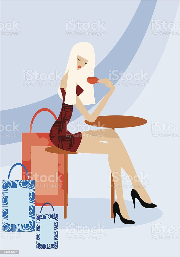 coffee after shopping royalty-free stock vector art