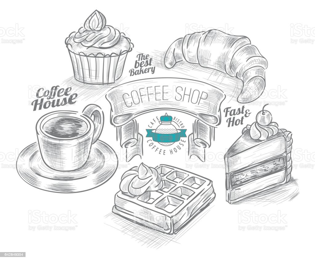 Coffee and Bakery Hand drawn icons sets vector art illustration