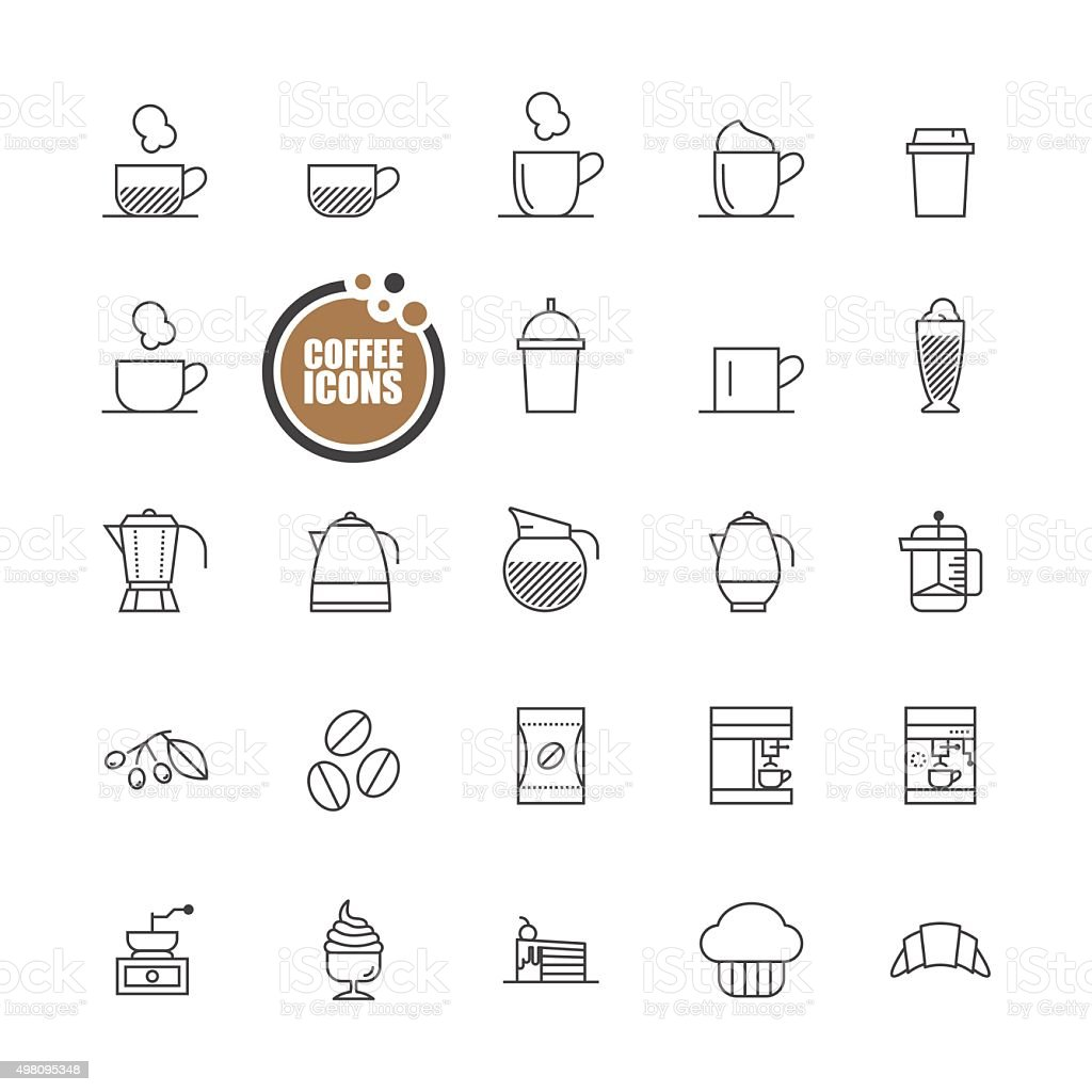 Coffee and bakery icons line set vector art illustration