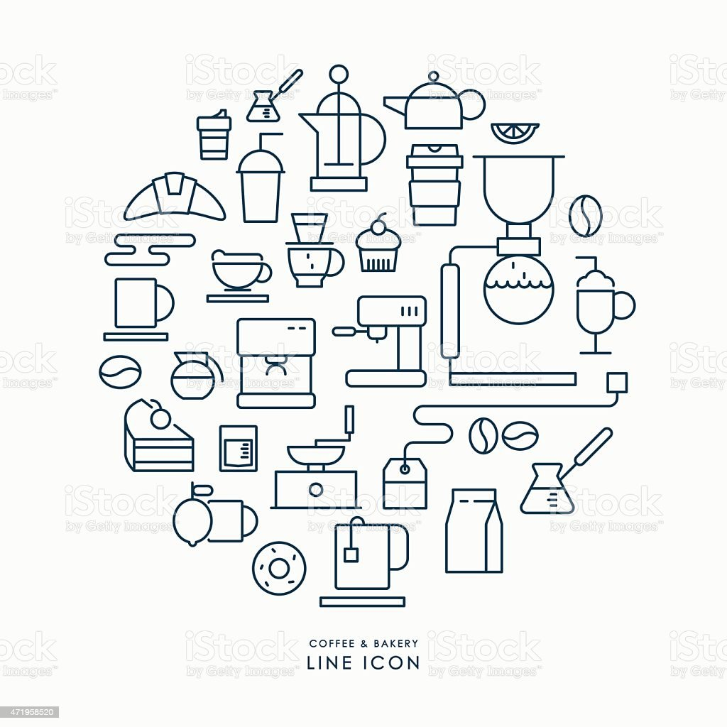 coffee and bakery line icons infographic vector art illustration