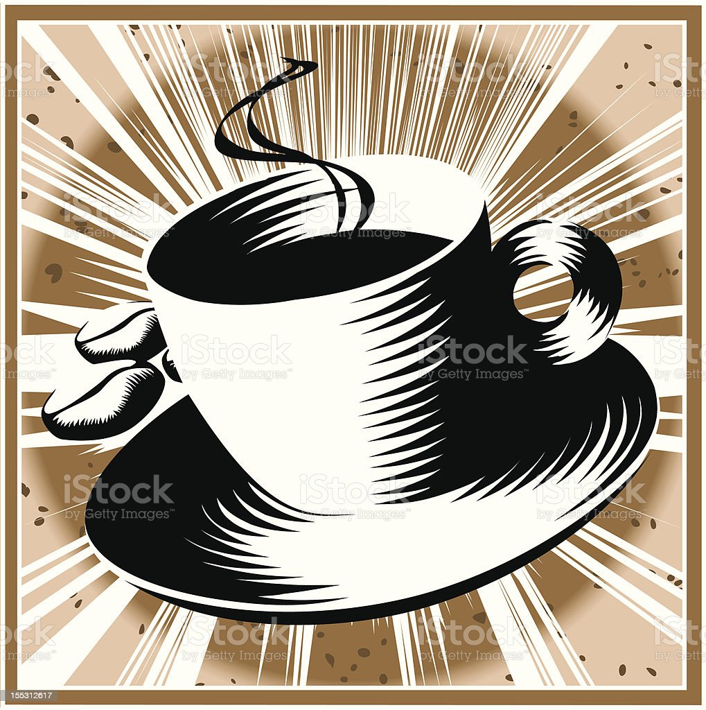 Coffee and beans - Woodcut style royalty-free stock vector art