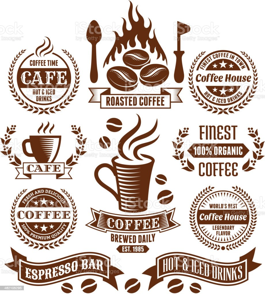 Coffee and Cafe Elegant Vector Vector Icons & Labels Collection royalty-free stock vector art