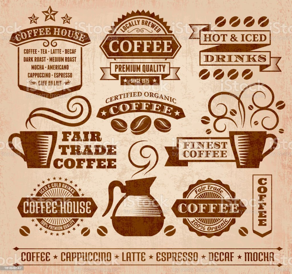 Coffee and Cafe Grunge royalty free vector arts Collection vector art illustration