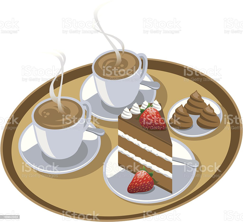 Coffee and Cake vector art illustration