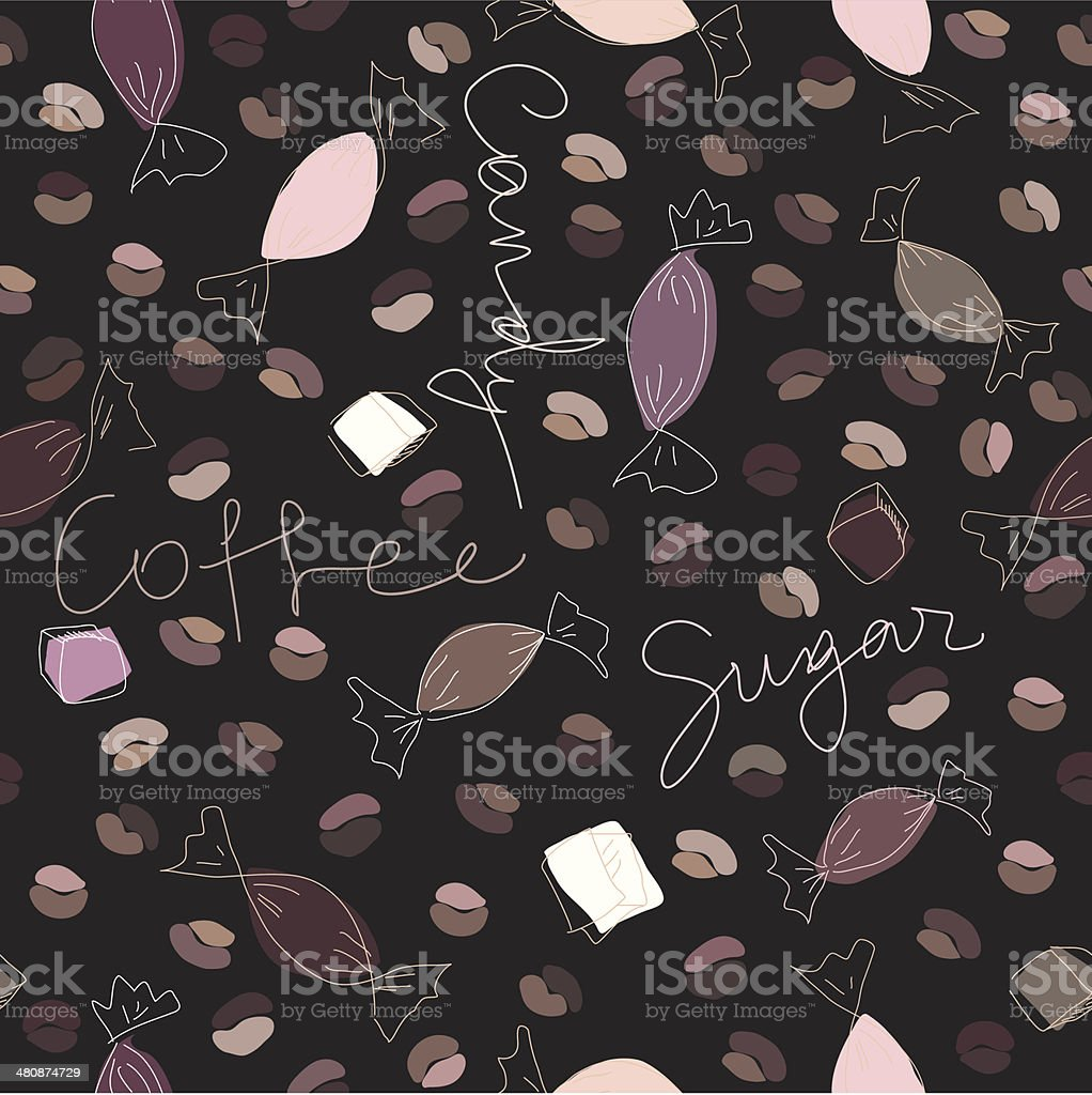 Coffee and candy vector art illustration