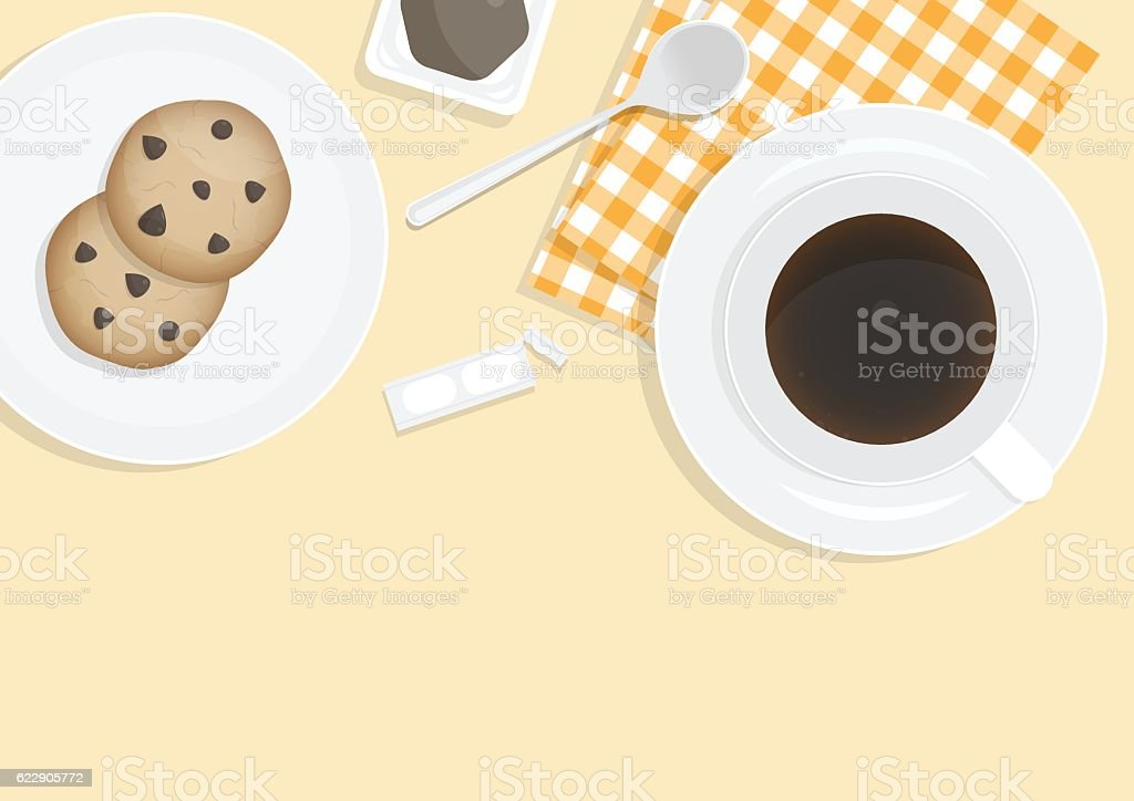 Coffee and Chocolate chip cookies vector art illustration