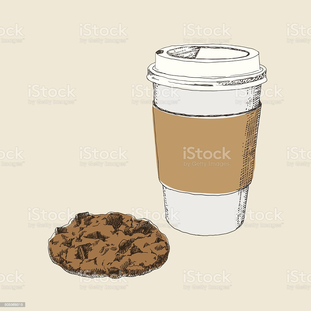Coffee And Chocolate Cookie royalty-free stock vector art